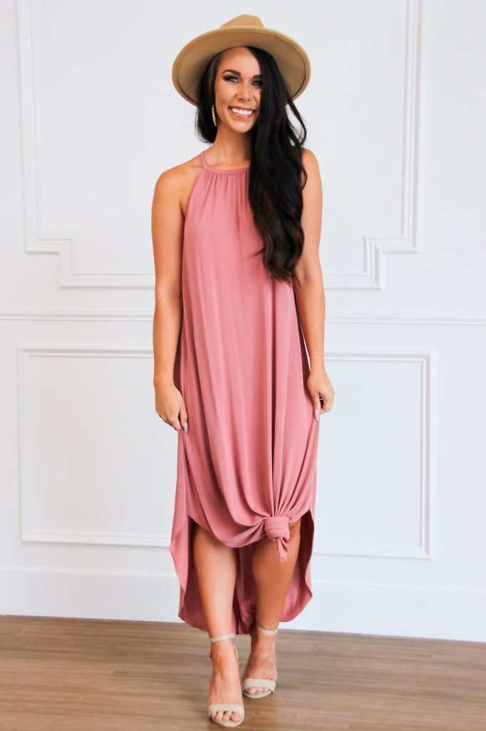 Classic Circle Hem Midi Dress: Mauve - Bella and Bloom Boutique