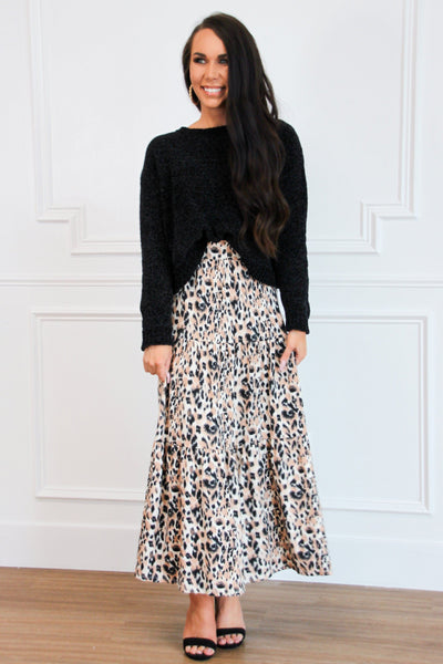 Gemma Maxi Skirt: Leopard - Bella and Bloom Boutique