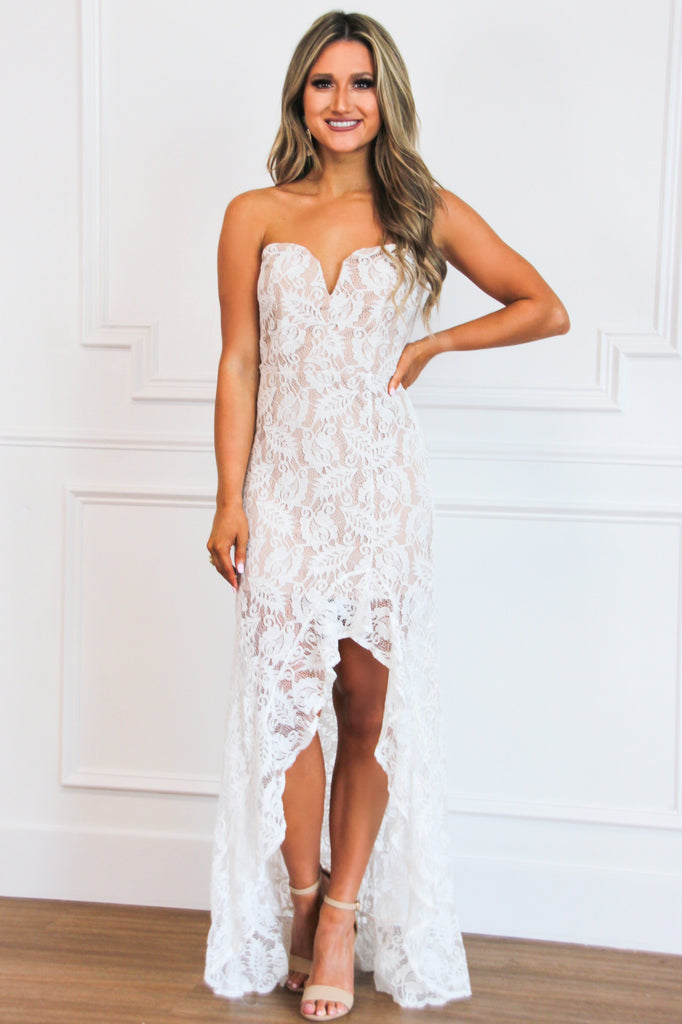 RESTOCK: Ready to Wed Lace Maxi Dress: White/Nude - Bella and Bloom Boutique