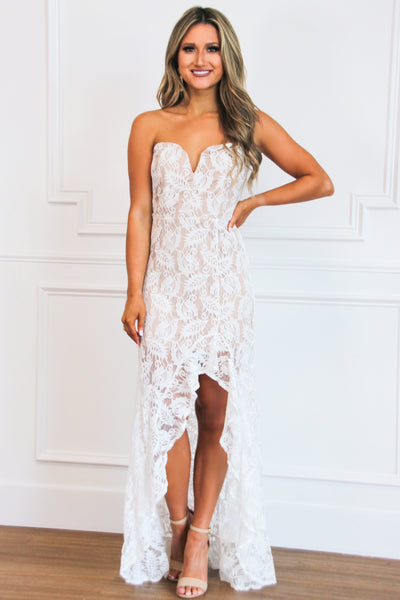 Ready to Wed Lace Maxi Dress: White/Nude - Bella and Bloom Boutique