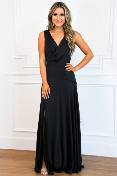 Black Tie Affair Maxi Dress: Black - Bella and Bloom Boutique