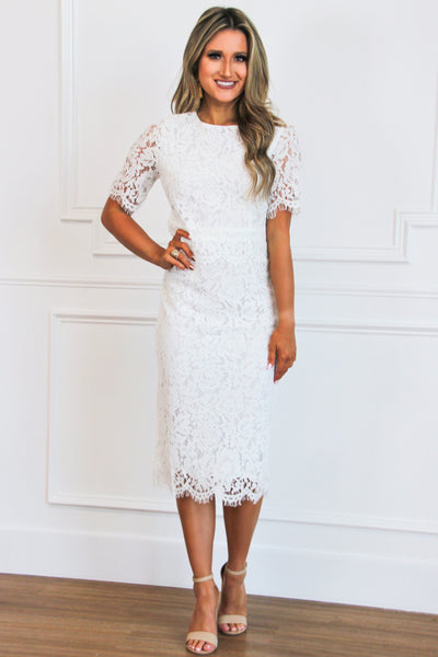 Bride to Be Midi Dress: White - Bella and Bloom Boutique