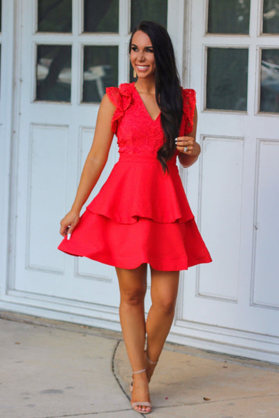 Lovestruck Dress: Tomato - Bella and Bloom Boutique