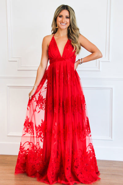 RESTOCK: Here Comes the Bride Maxi Dress: Red - Bella and Bloom Boutique