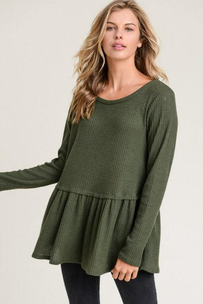 That Simple Thermal Top: Olive - Bella and Bloom Boutique