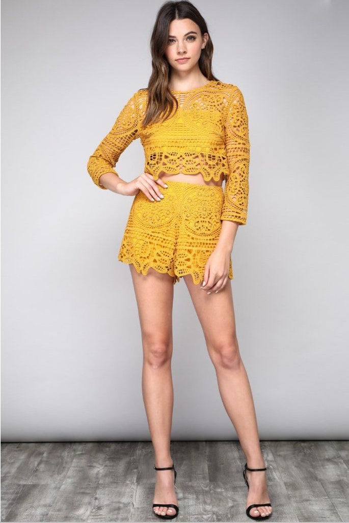 Fall Feels Two Piece Set: Mustard - Bella and Bloom Boutique