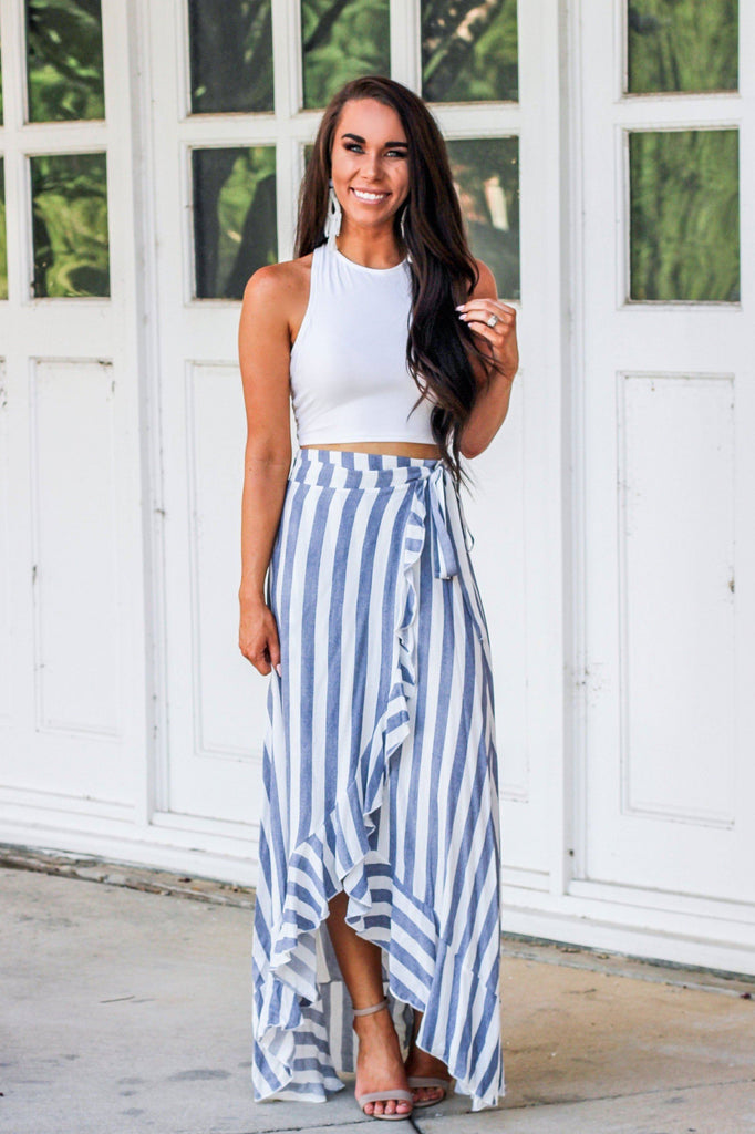 RESTOCK: Summer Love Maxi Skirt: Navy/White - Bella and Bloom Boutique