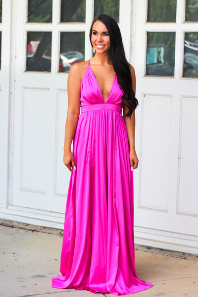 Barbie Girl Maxi Dress: Magenta - Bella and Bloom Boutique