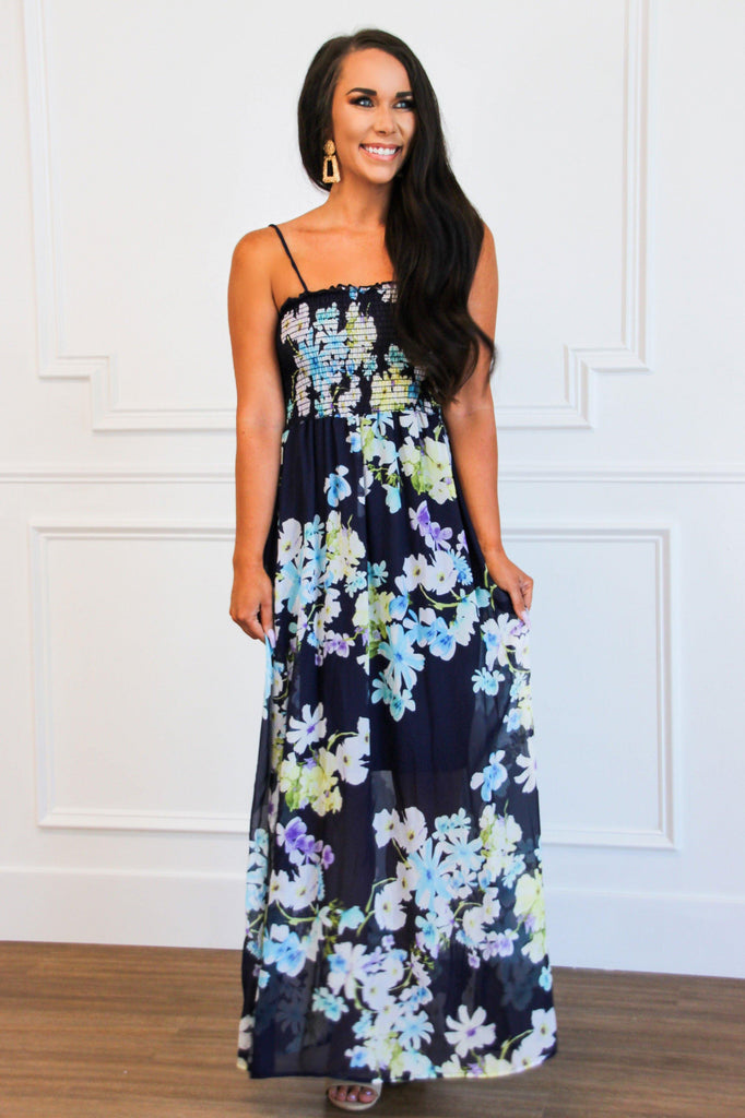 Smocked Floral Midi Dress: Navy - Bella and Bloom Boutique