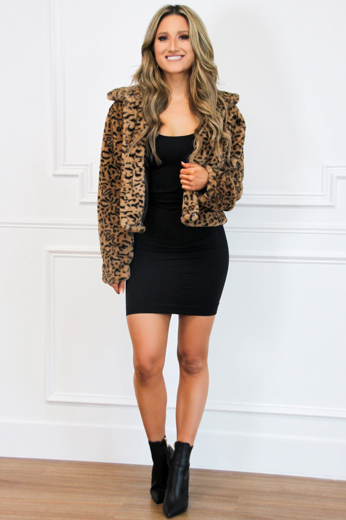 On the Prowl Faux Fur Cropped Jacket: Leopard - Bella and Bloom Boutique