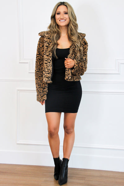 On the Prowl Faux Fur Cropped Jacket: Leopard