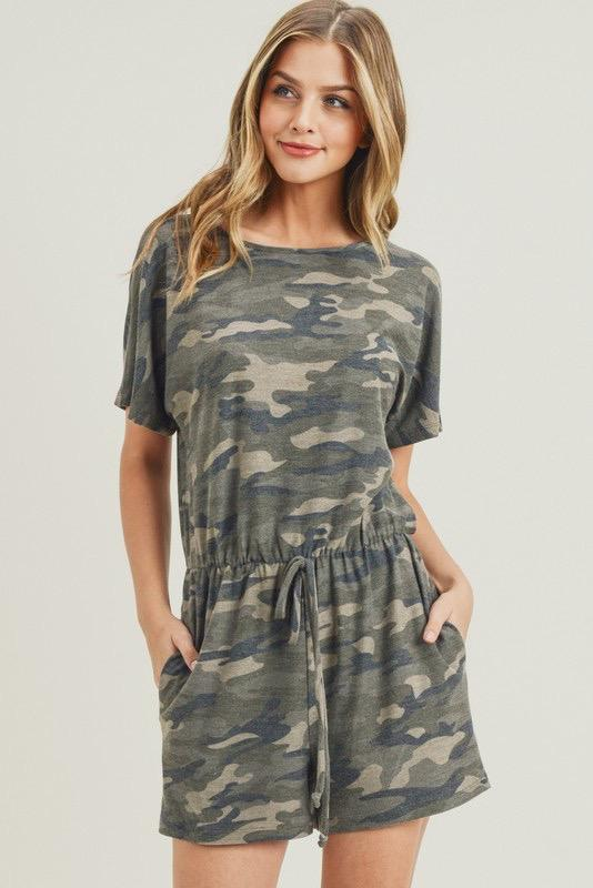 RESTOCK: Comfy Camo Romper: Camo - Bella and Bloom Boutique
