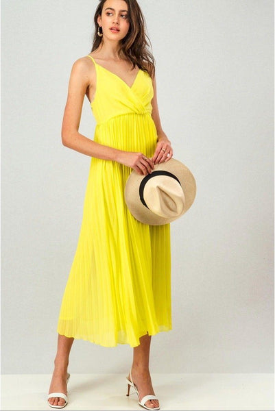 Maya Pleated Midi Dress: Yellow - Bella and Bloom Boutique
