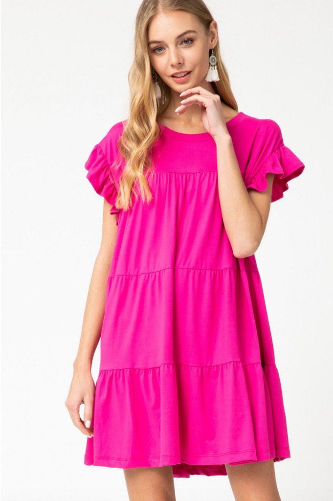 RESTOCK: Delilah Babydoll Dress: Fuchsia - Bella and Bloom Boutique