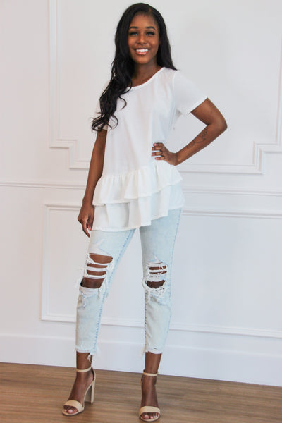 Darling Ruffle Top: White - Bella and Bloom Boutique
