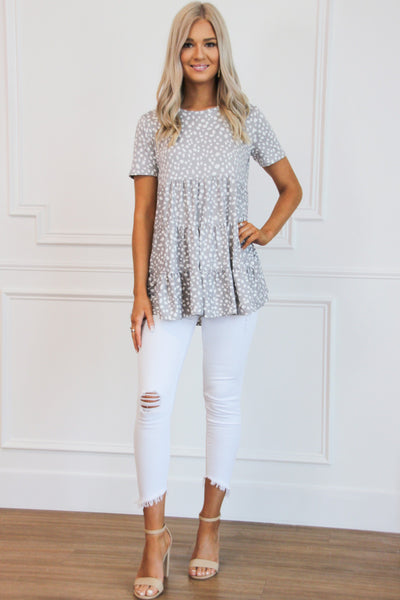 So Soft Spotted Top: Gray - Bella and Bloom Boutique