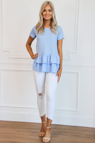 Darling Ruffle Top: Light Blue - Bella and Bloom Boutique