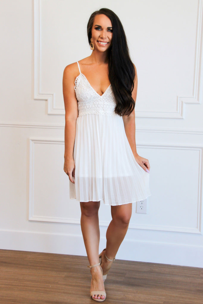 Pleated Beauty Romper: White - Bella and Bloom Boutique