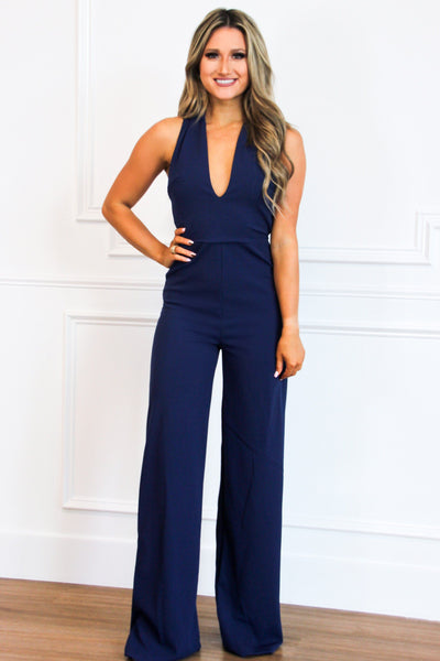 RESTOCK: Look Back At It Jumpsuit: Navy - Bella and Bloom Boutique