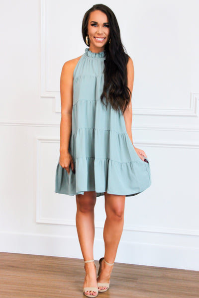 Madelyn Ruffle Dress: Sage