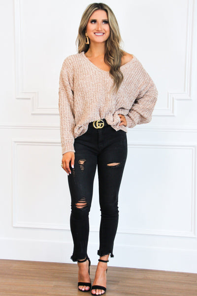 Star Gazing Chenille Sweater: Taupe
