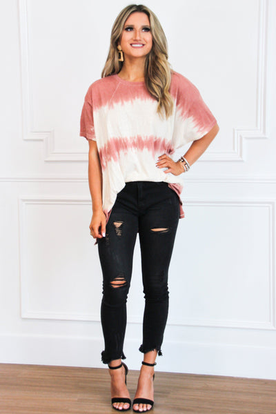 Easy Going Tie Dye Top: Marsala - Bella and Bloom Boutique