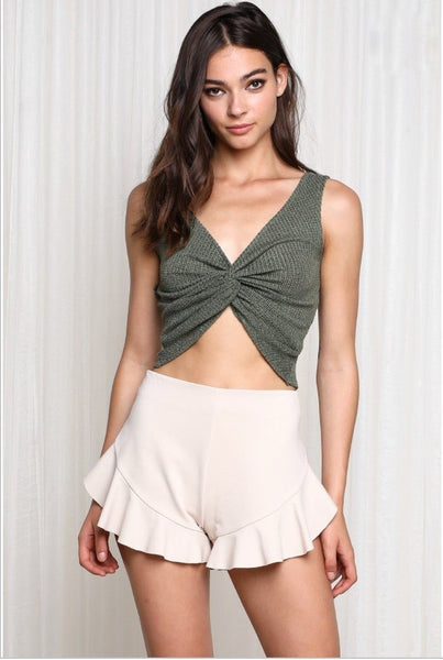 Moving on Crop Top: Olive - Bella and Bloom Boutique