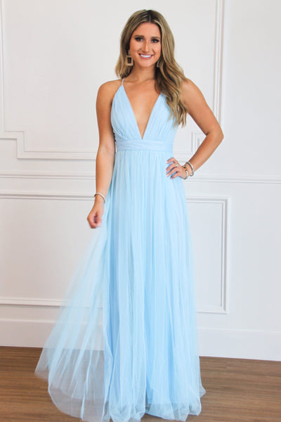 Forever Love Maxi Dress: Baby Blue - Bella and Bloom Boutique