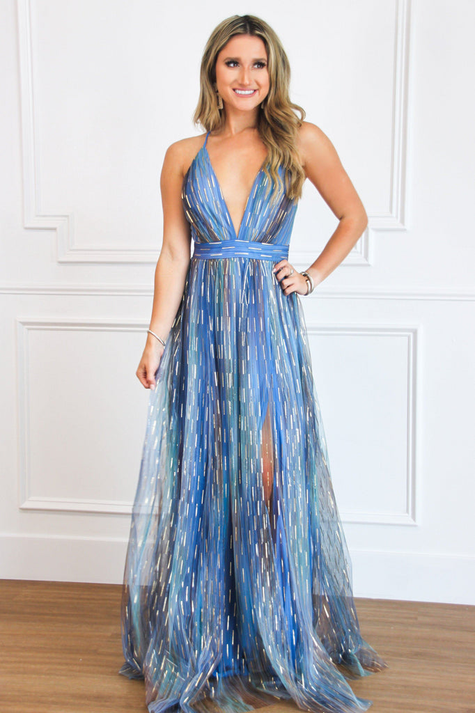 Back to December Maxi Dress: Blue Multi - Bella and Bloom Boutique