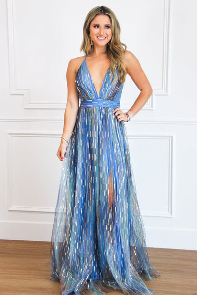 Back to December Maxi Dress: Blue Multi