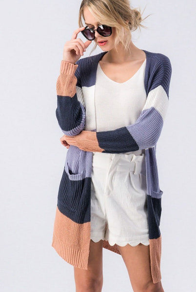 Happier Days Cardigan: Navy Multi - Bella and Bloom Boutique