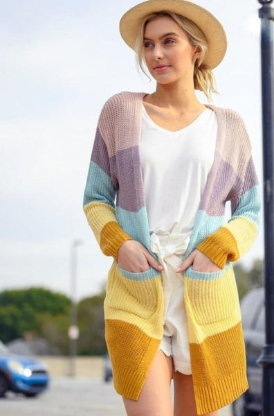 Happier Days Cardigan: Pastel Multi - Bella and Bloom Boutique