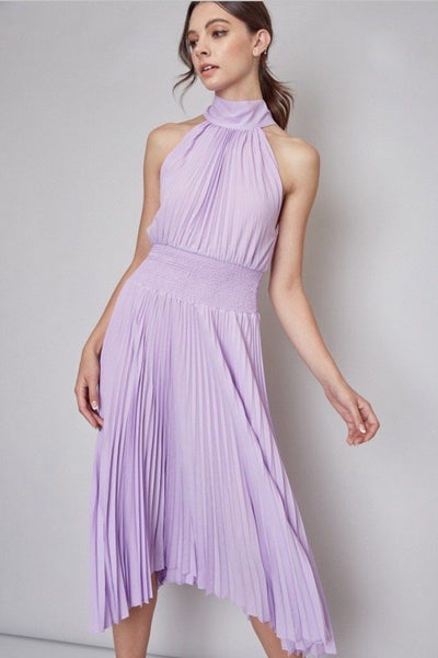Dream Girl Pleated Midi Dress: Lavender