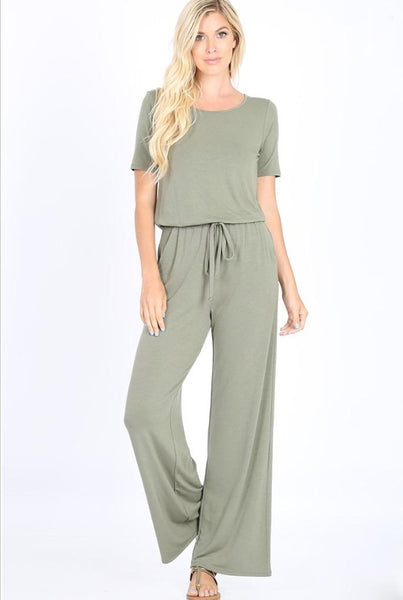 Comfort Crush Jumpsuit: Light Olive - Bella and Bloom Boutique