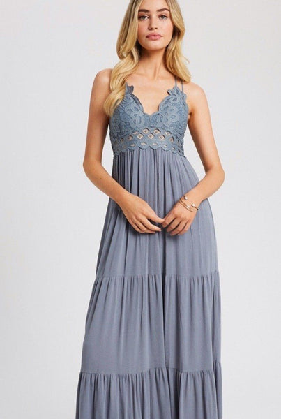 Touch of Wonder Maxi Dress: Dusty Blue