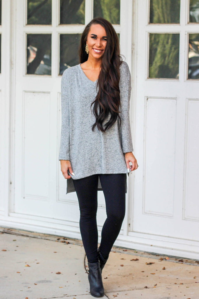 RESTOCK: Comfort Days Sweater: Heather Gray - Bella and Bloom Boutique