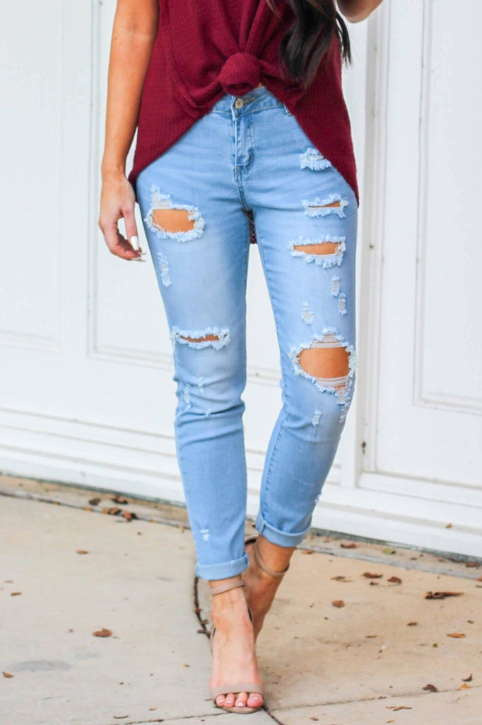Madison Girlfriend Denim: Light Wash - Bella and Bloom Boutique