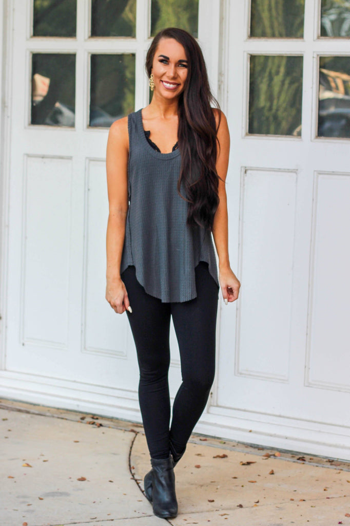 Fall Love Thermal Tank: Charcoal - Bella and Bloom Boutique