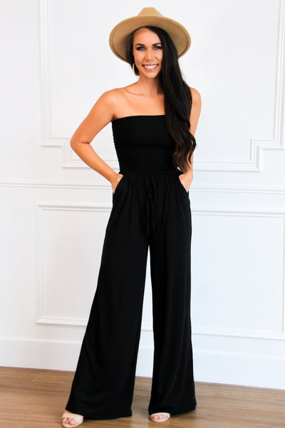 Classic Smocked Jumpsuit: Black - Bella and Bloom Boutique