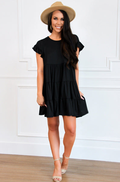 RESTOCK: Delilah Babydoll Dress: Black - Bella and Bloom Boutique