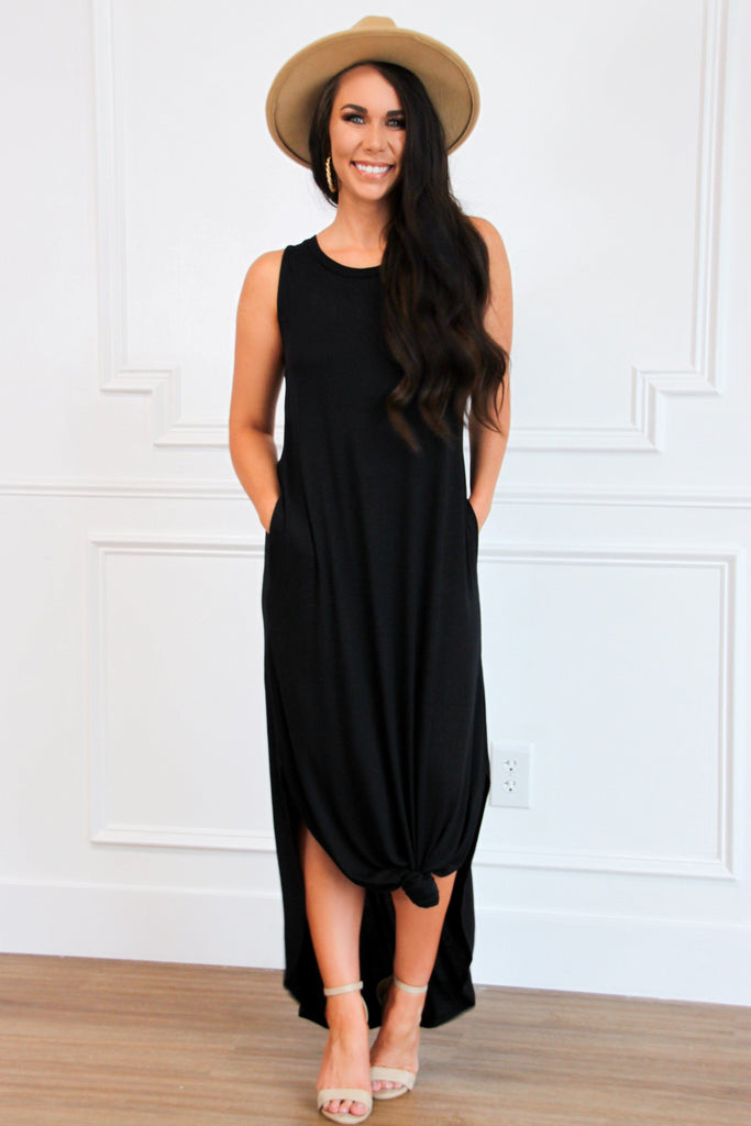 Casual Solid Midi Dress: Black - Bella and Bloom Boutique