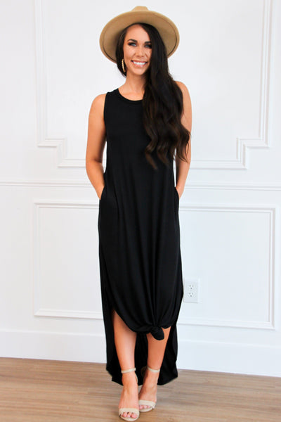 Casual Solid Midi Dress: Black