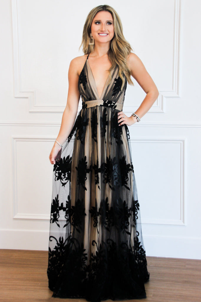 RESTOCK: Here Comes the Bride Maxi Dress: Black/Nude - Bella and Bloom Boutique
