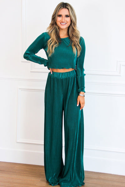 All About Pleats Two Piece Set: Emerald