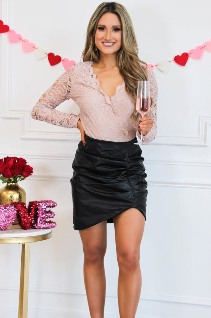 Leather Crush Skirt: Black - Bella and Bloom Boutique