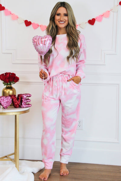 Cozy Tie Dye Jogger Set: Pink - Bella and Bloom Boutique