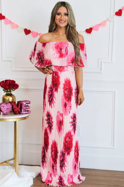 Blushing Hearts Pleated Maxi Dress: Light Pink/Fuchsia - Bella and Bloom Boutique