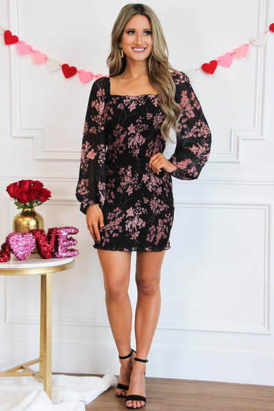 Fall Florals Smocked Dress: Black - Bella and Bloom Boutique