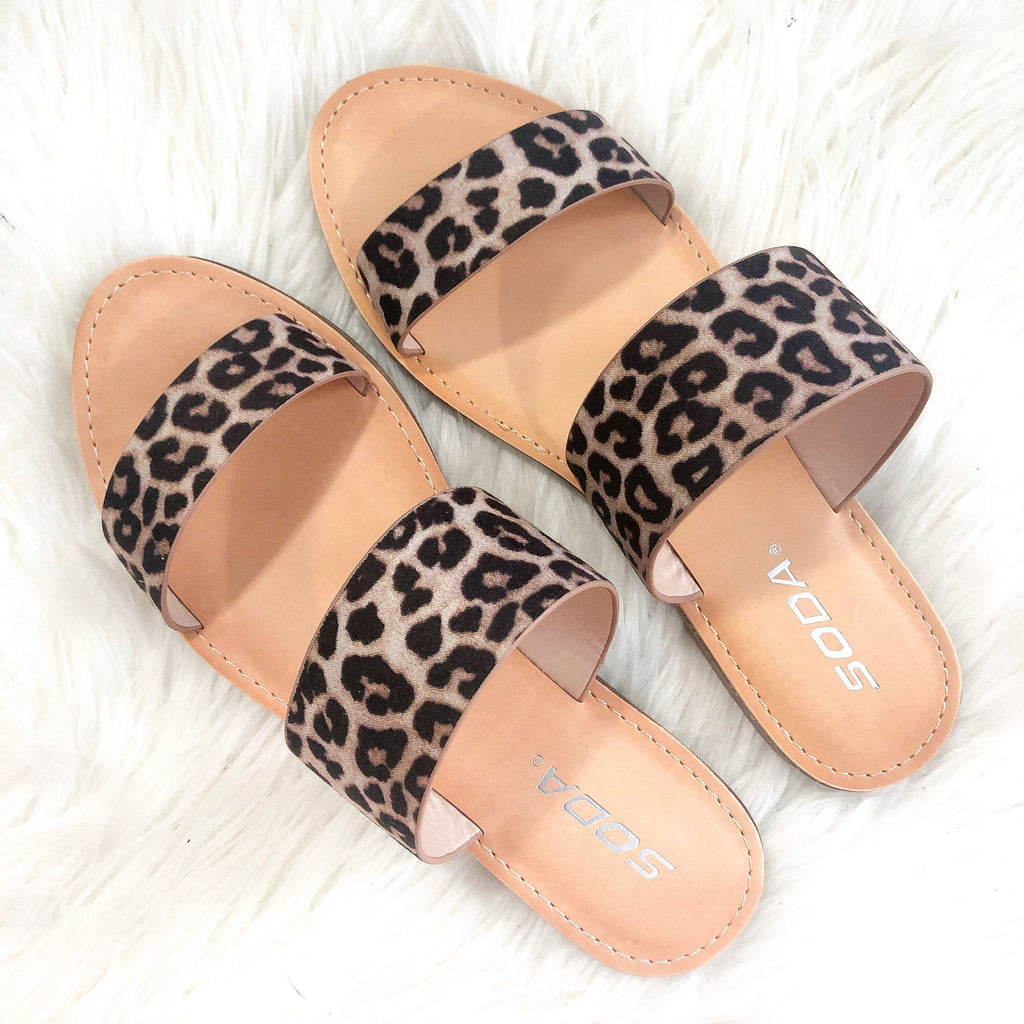 Raelynn Double Strap Sandals: Leopard - Bella and Bloom Boutique