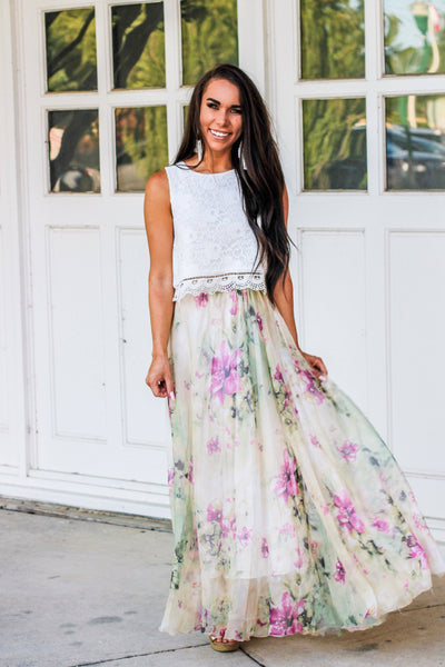 Sweet As You Floral Maxi Skirt: Pastel Multi